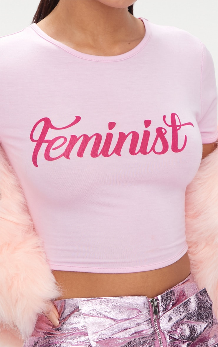 Feminist Slogan Baby Pink Crop Top 6