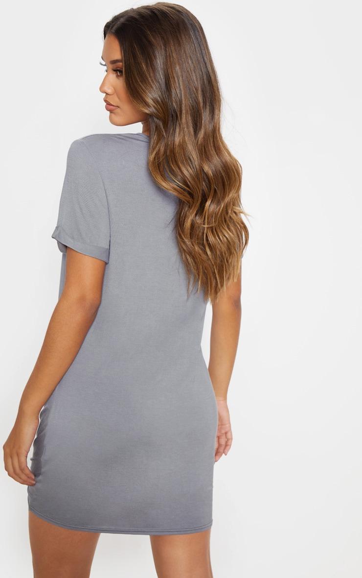 Charcoal Grey Knot Detail T Shirt Dress 2