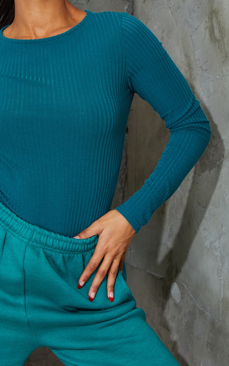 Dark Teal Wide Rib Crew Neck Long Sleeve Bodysuit 4