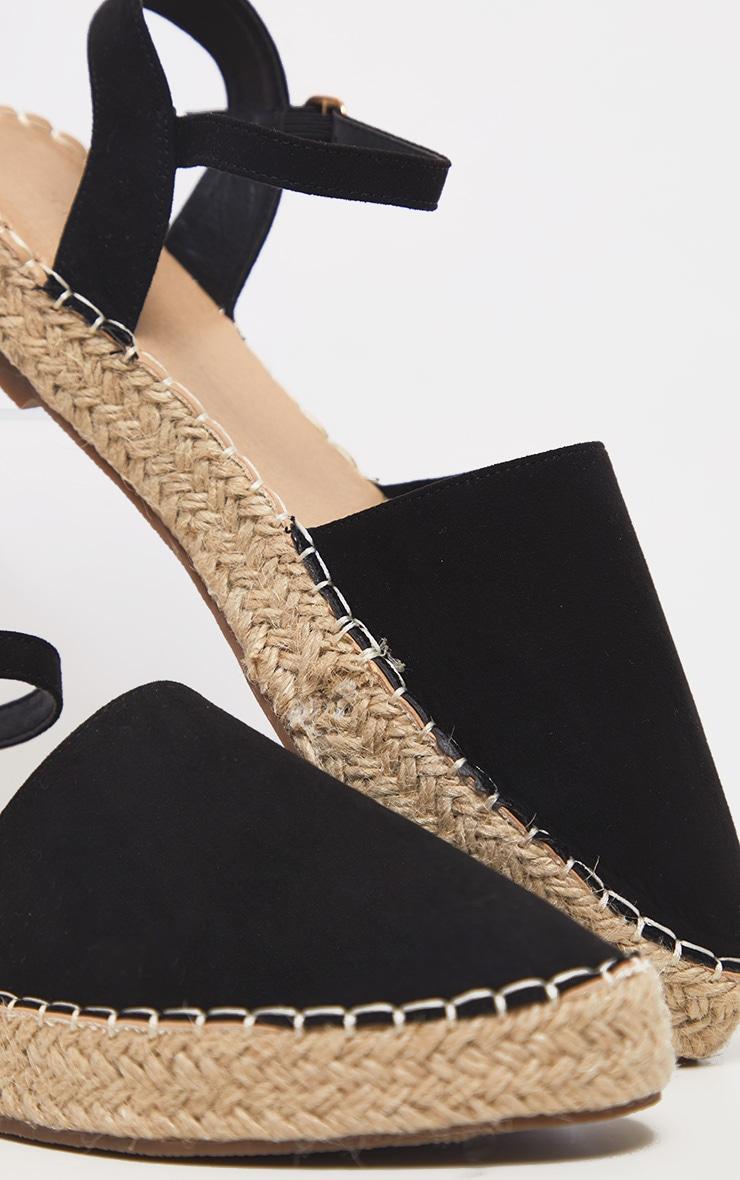 Black Espadrille Flat Sandal 4
