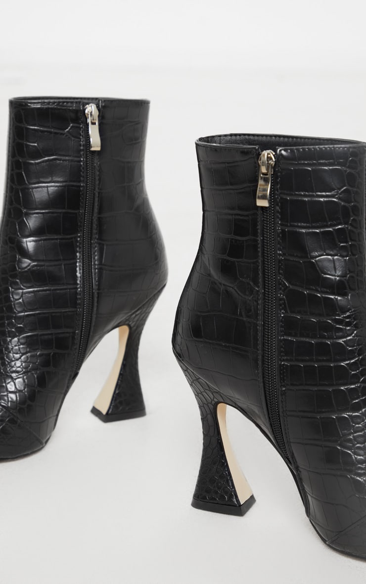 Black Croc Flare Heel Ankle Boots 3