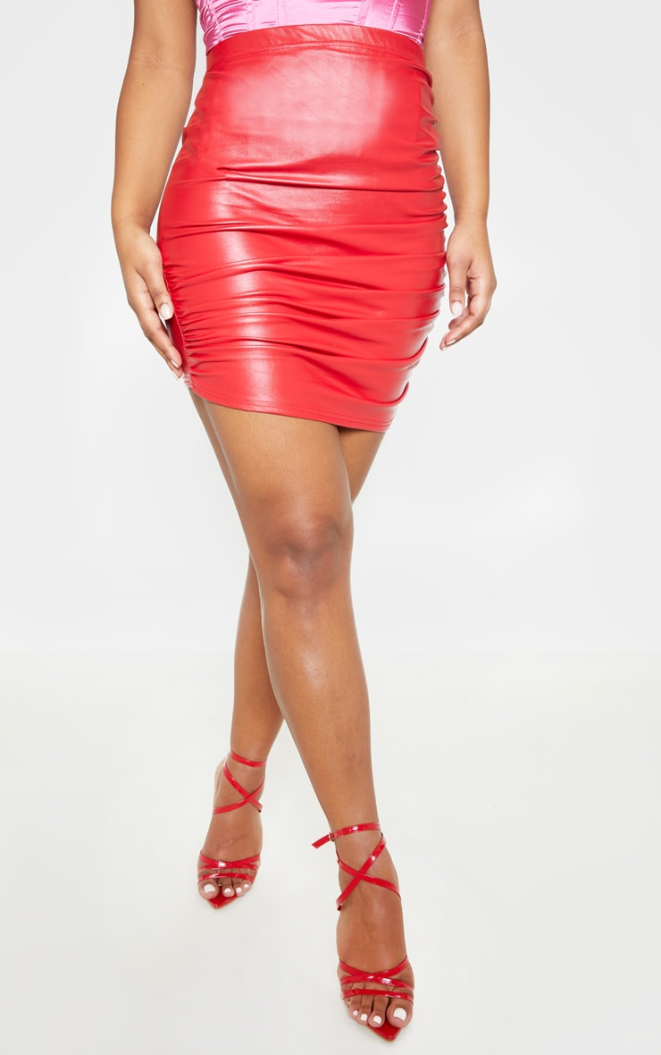 Red PU Ruched Detail Mini Skirt 3