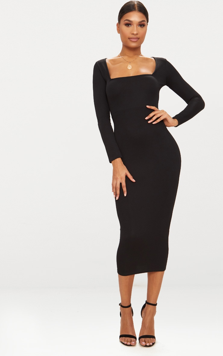 Black Square Neck Long Sleeve Midaxi Dress 1