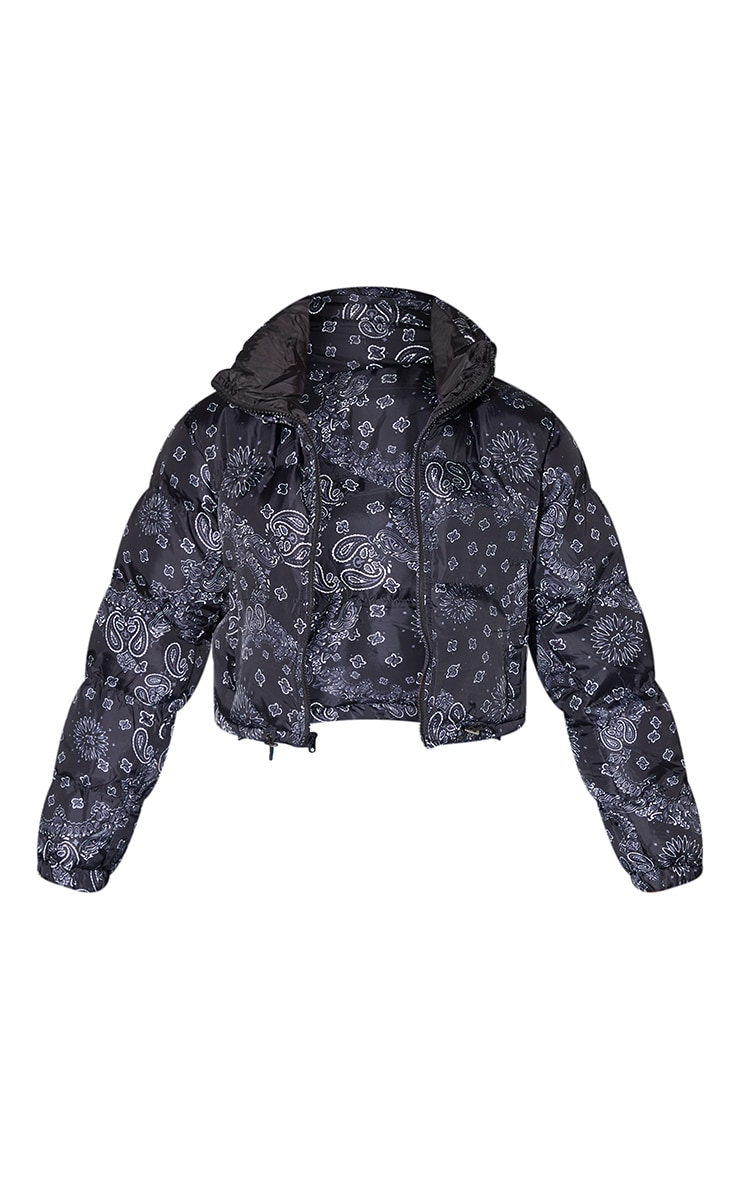 Black Bandana Print Reversible Zip Up Puffer Jacket 5