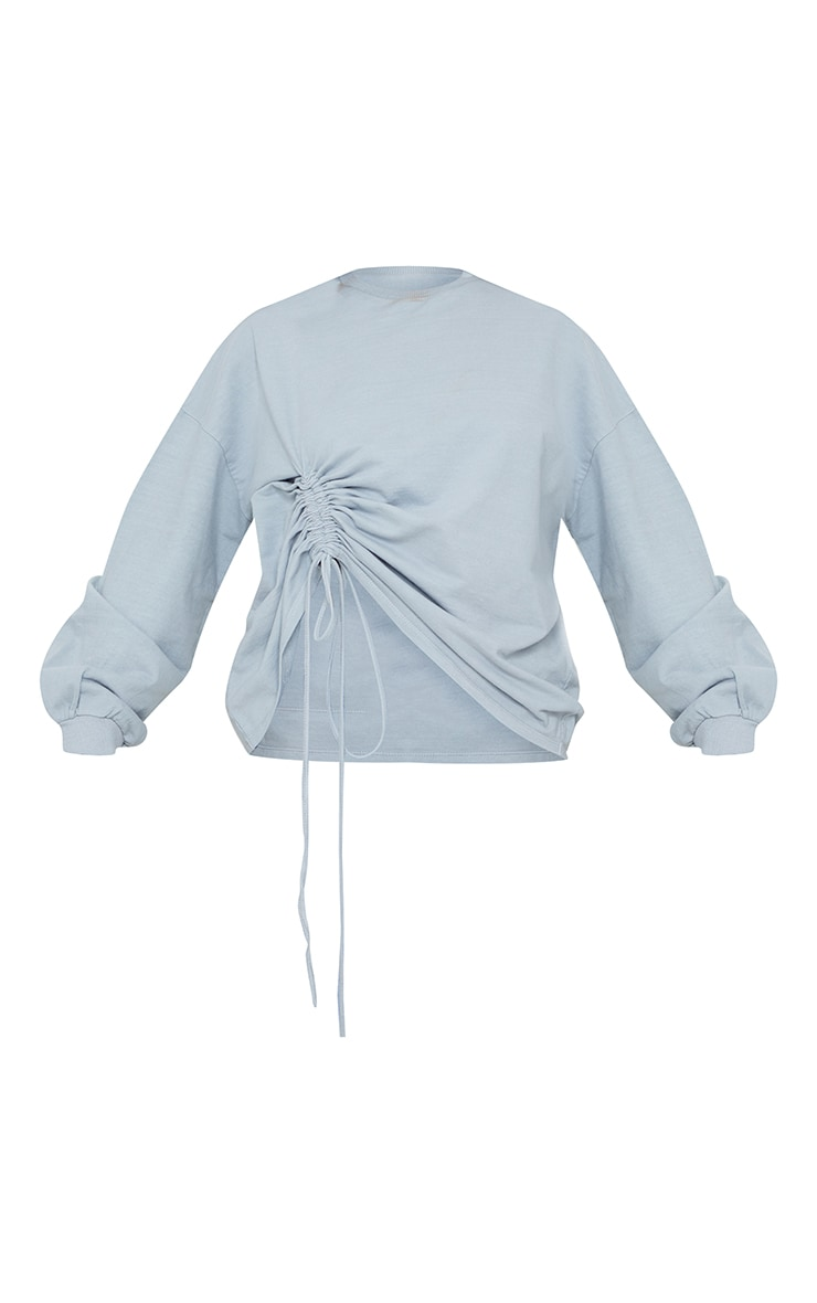 Grey Drawstring Ruched Side Sweatshirt 5