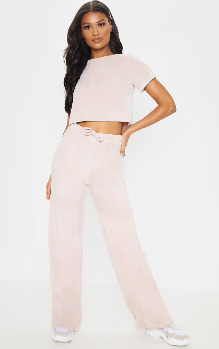 Rose Pink Velour High Waisted Wide Leg Pants 1