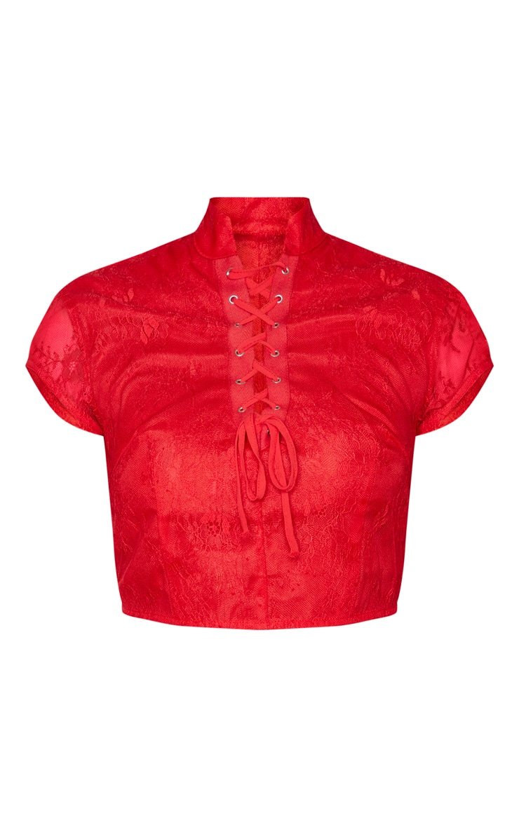 Red Lace Sheer High Neck Tie Front Crop Top 6