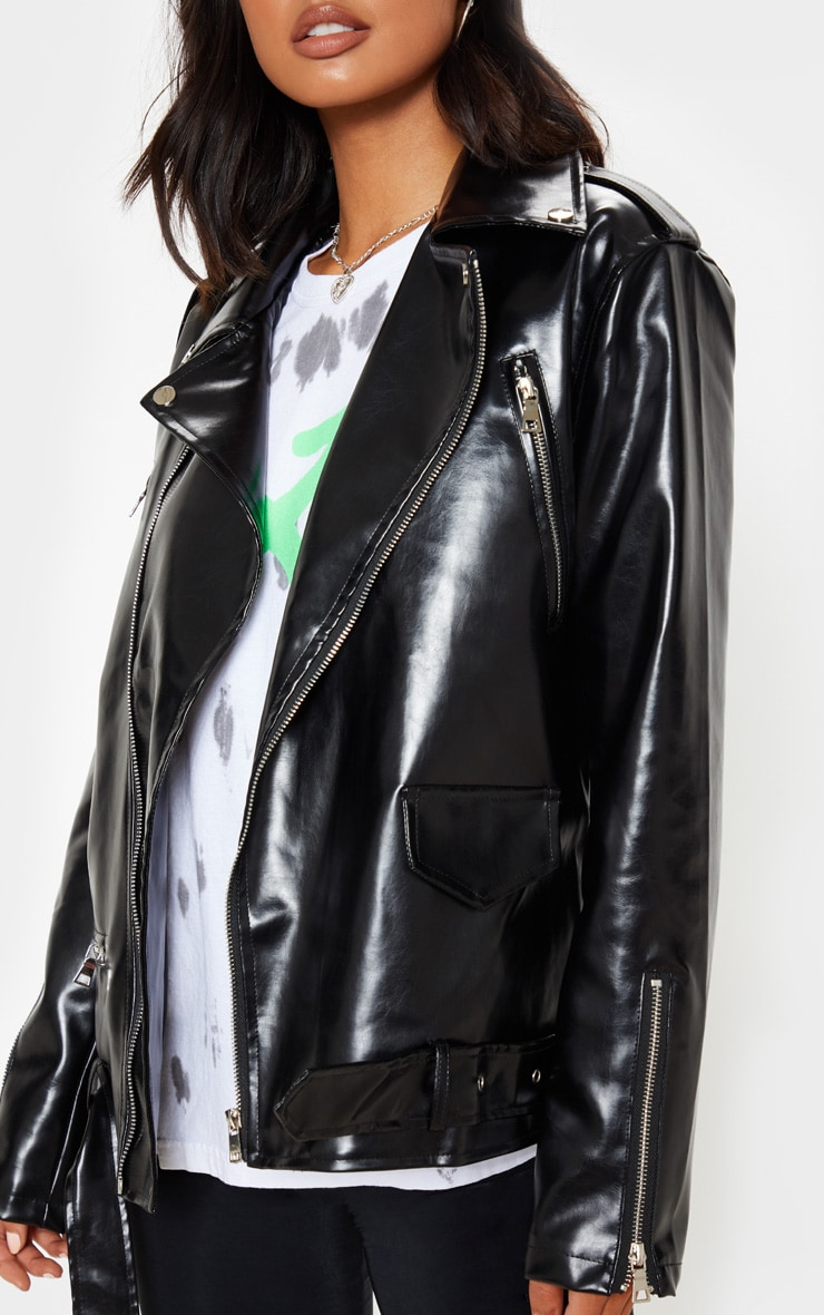 Black Oversized PU Biker Jacket 5