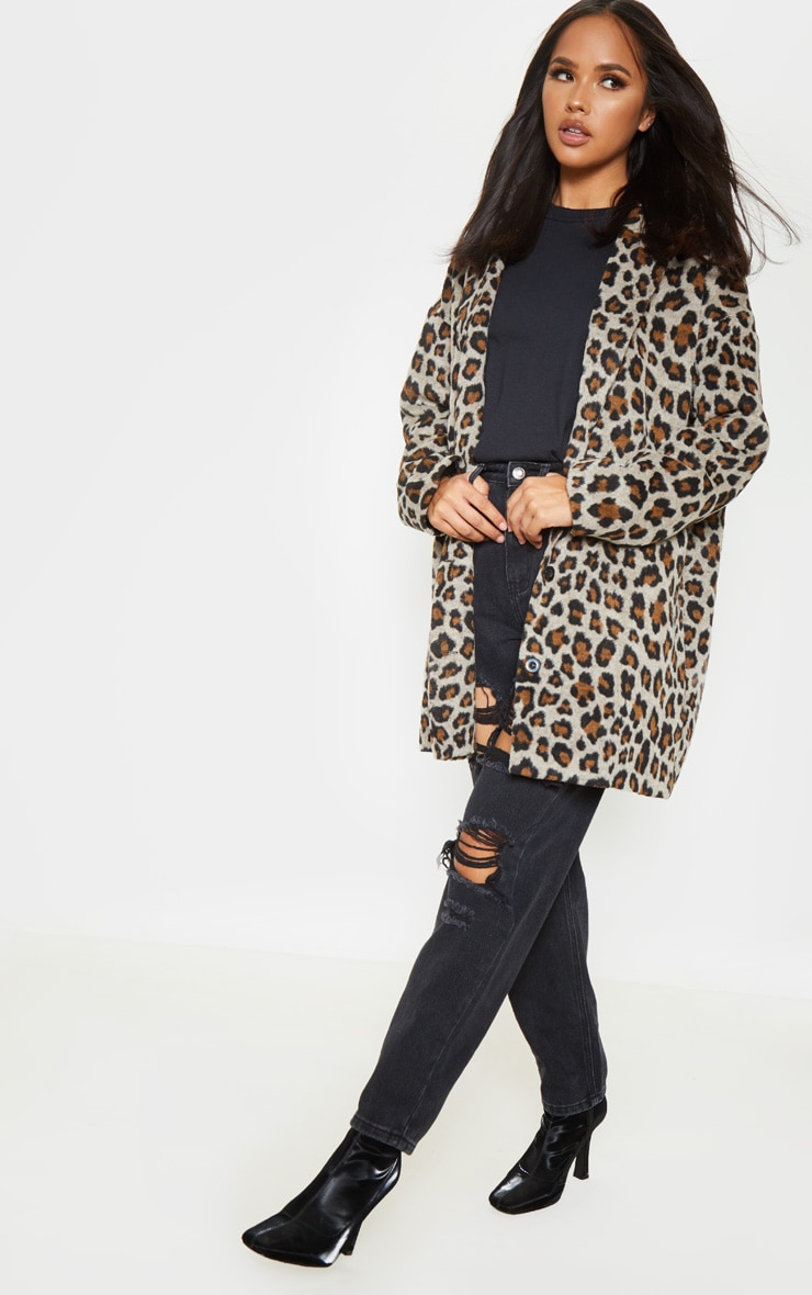 Brown Leopard Midi Coat 4