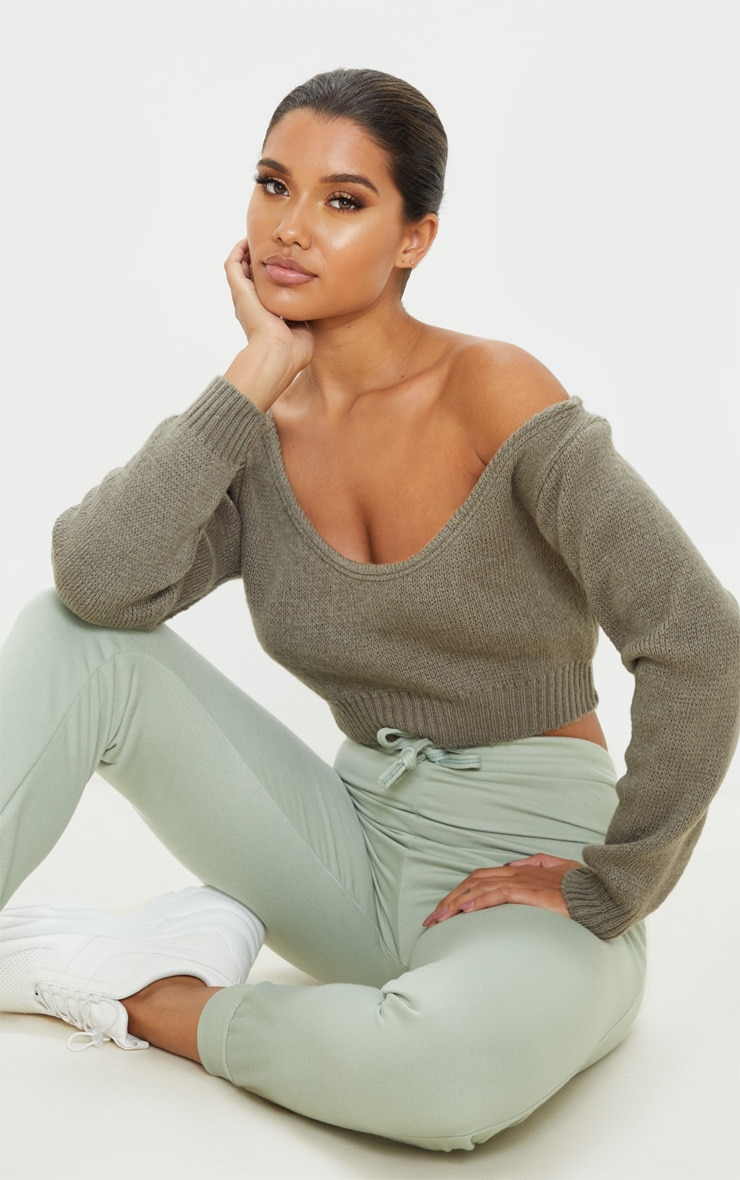 Khaki Off The Shoulder Crop Knitted Jumper 1