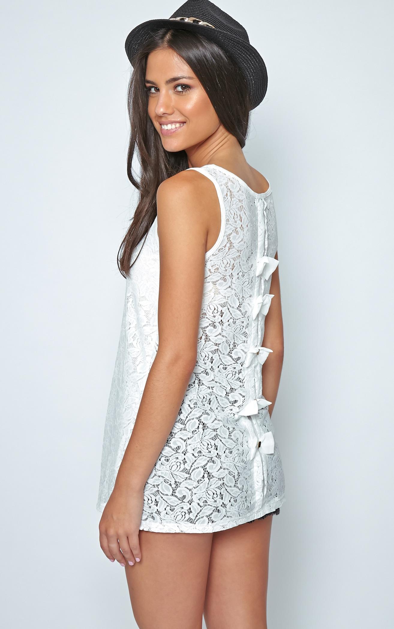 Leia White Lace Crochet Longline Bow Vest 1