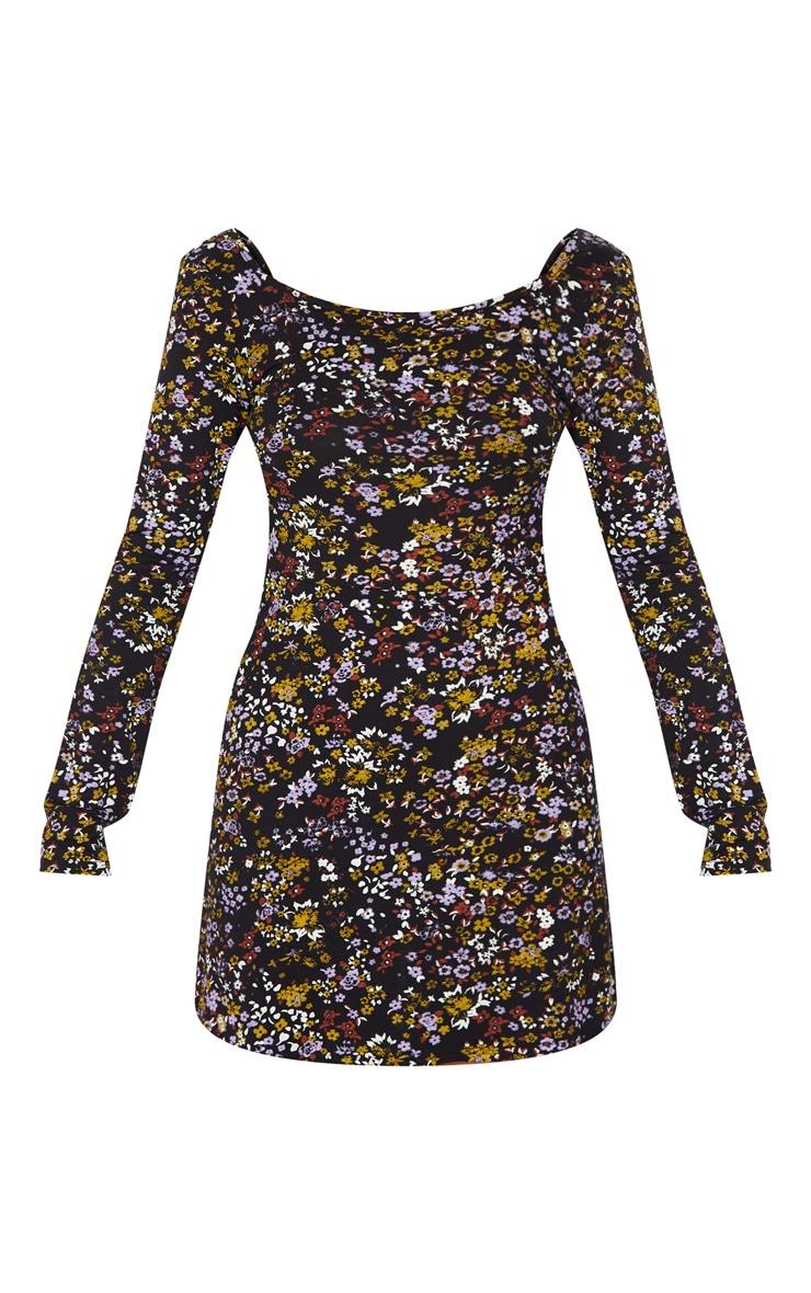 Black Ditsy Floral Long Sleeve Square Neck Shift Dress 3