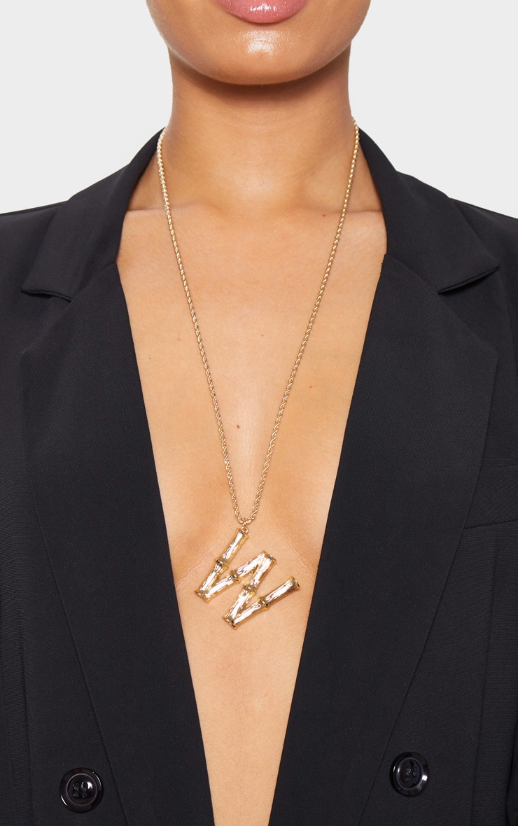 Gold W Bamboo Letter Necklace 2