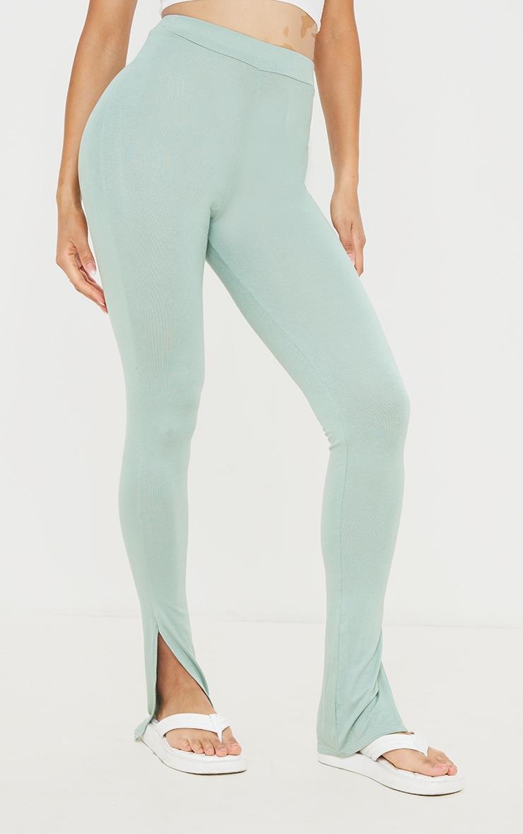 Sage Green Jersey Split Hem Leggings 2