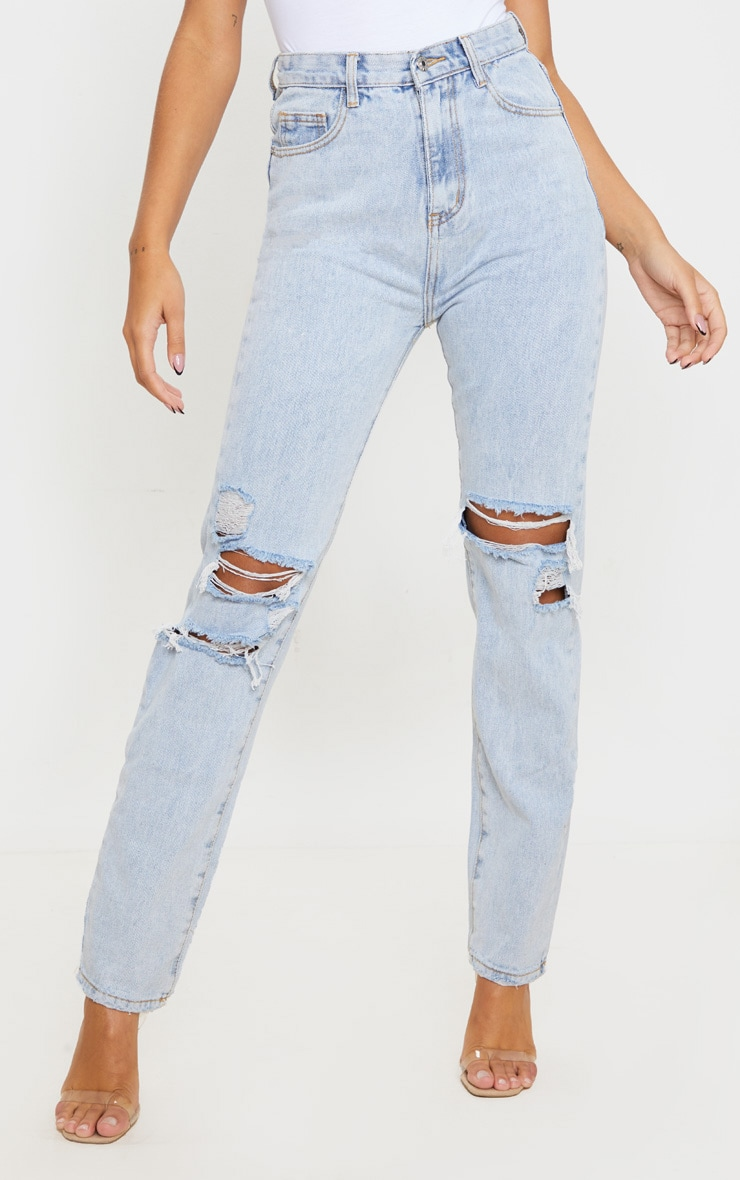 Light Wash Distressed Straight Leg Jeans 2