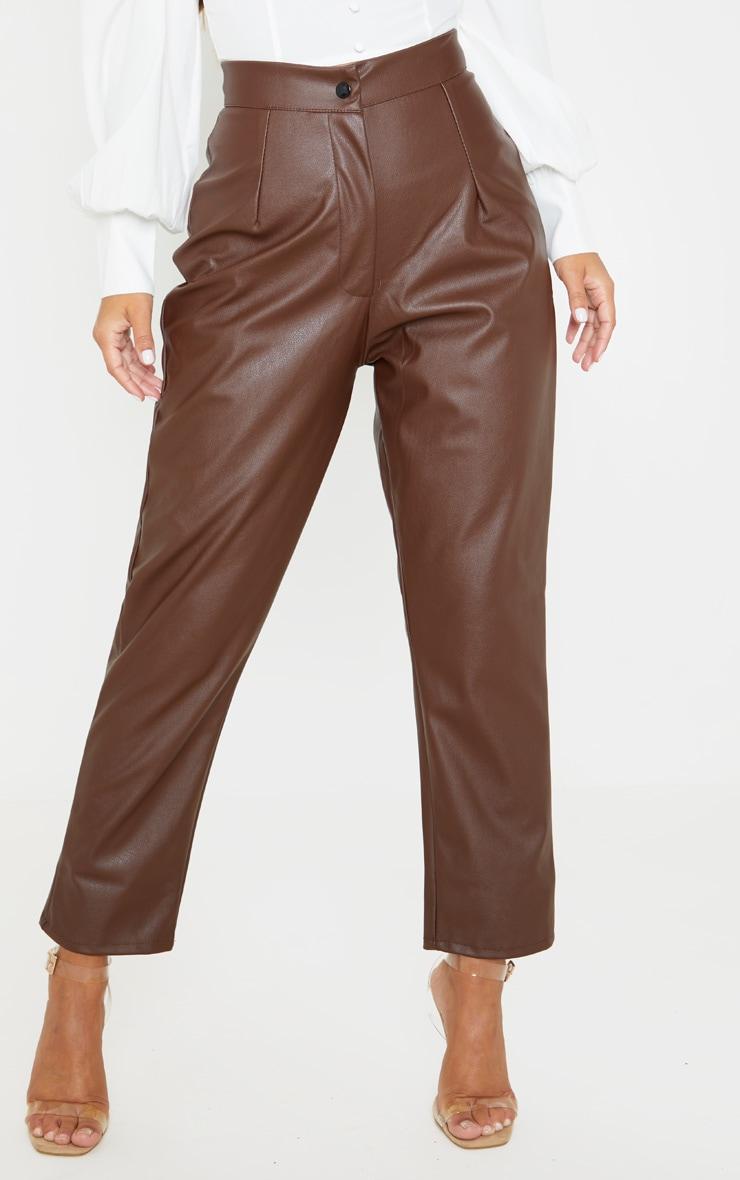 Petite Chocolate Faux Leather Slim Leg Pants 2