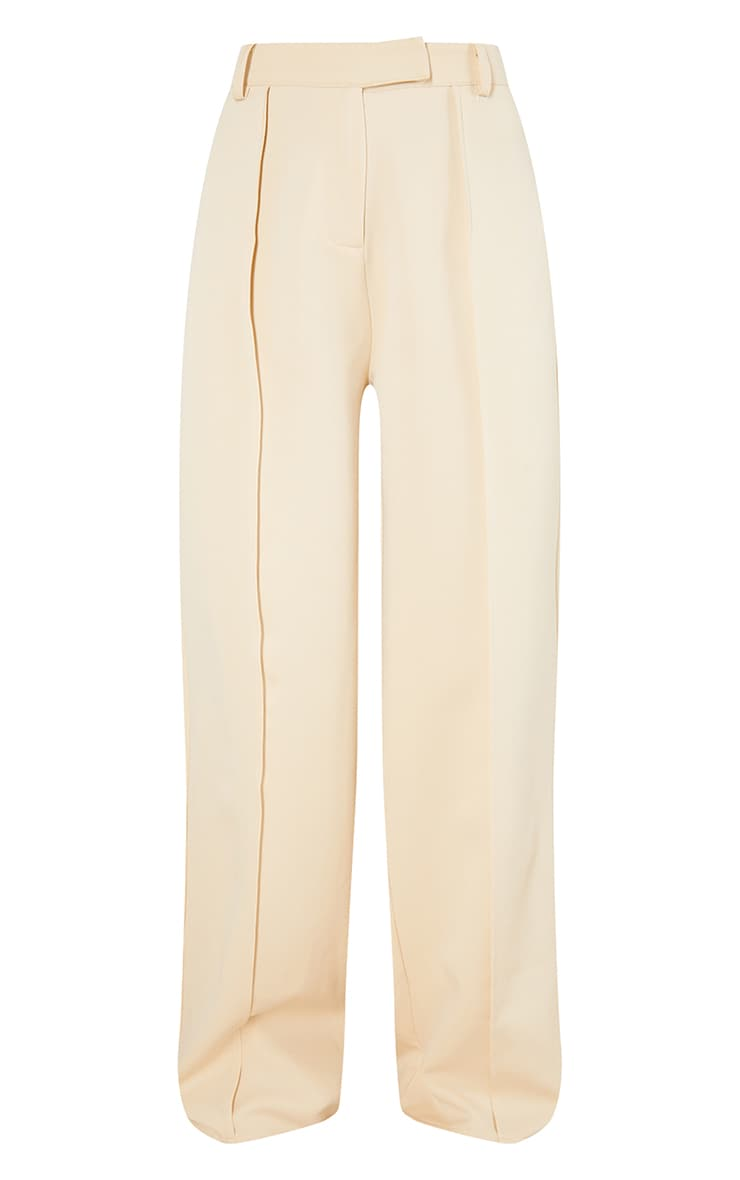 Stone Woven Seam Front Tailored Wide Leg Pants 5