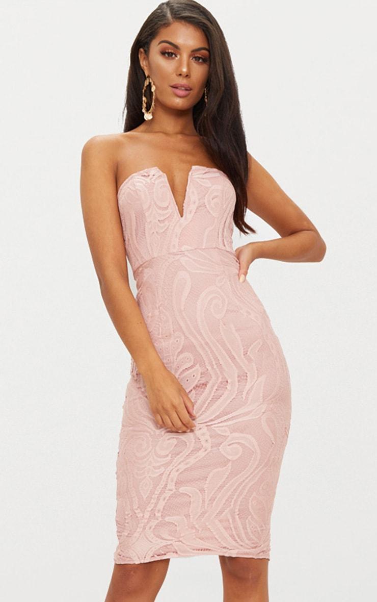 Dusty Pink Lace V Bar Bandeau Midi Dress 2