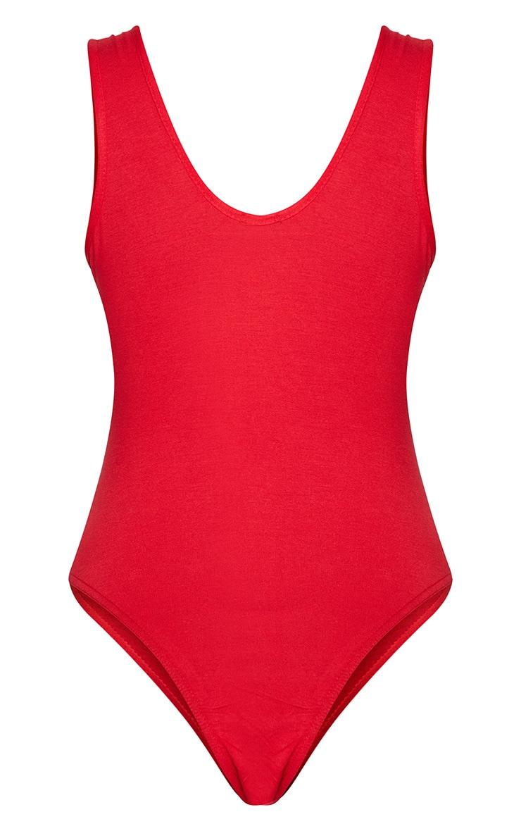Red Tres Chic Slogan Jersey Scoop Neck Bodysuit 4