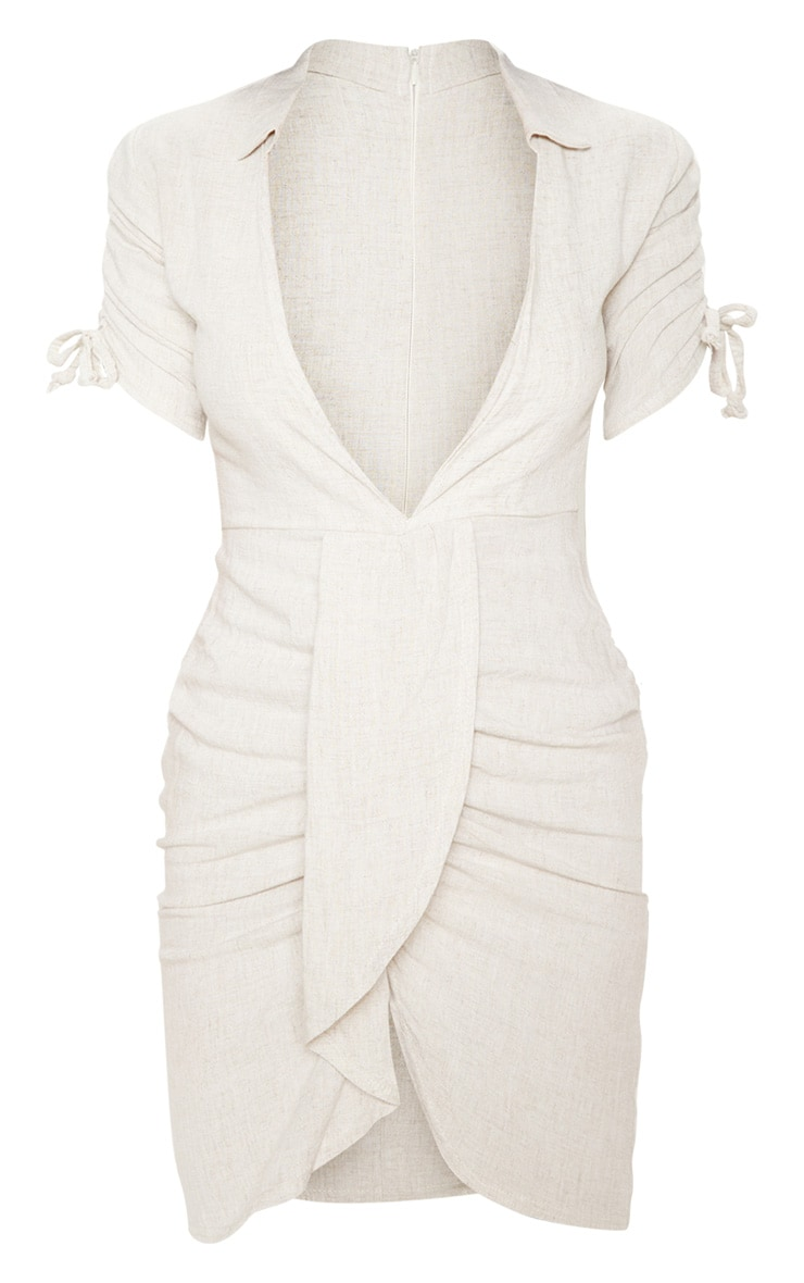 Stone Linen Ruched Sleeve Deep Plunge Bodycon Dress 3