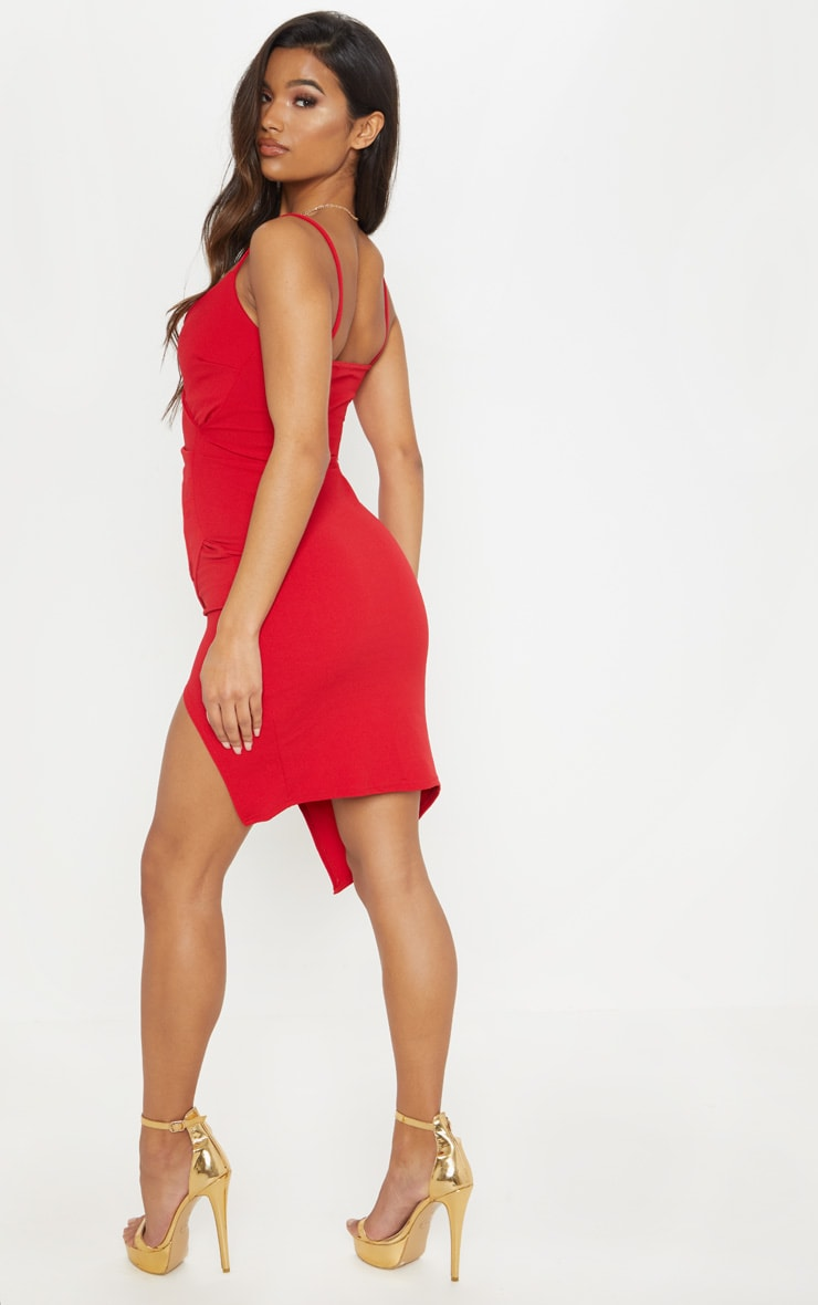 Lauriell Red Wrap Front Crepe Midi Dress 2
