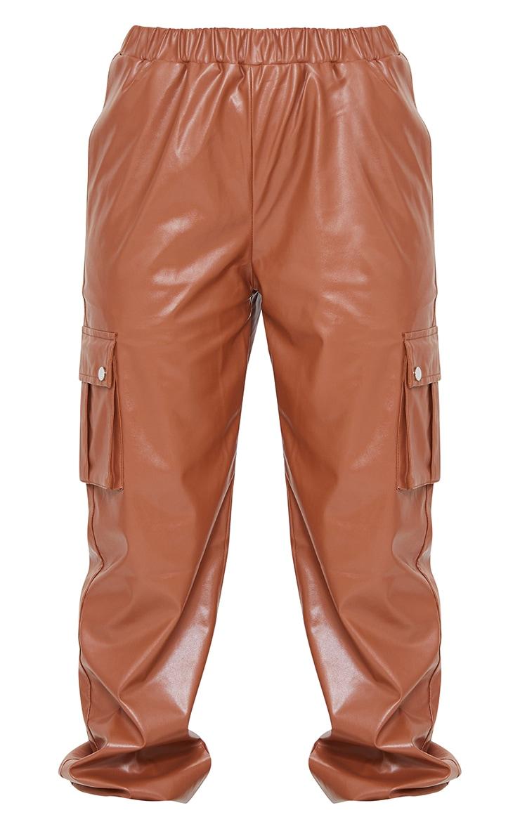 Tan Faux Leather Cargo Pants 5