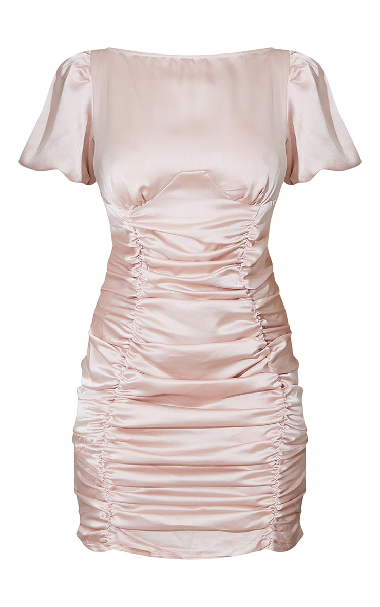 Rose Satin Ruched Short Sleeve Bodycon Dress 5
