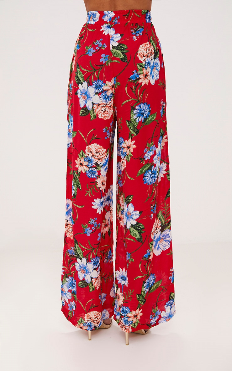 Red Floral Wide Leg Trousers 2