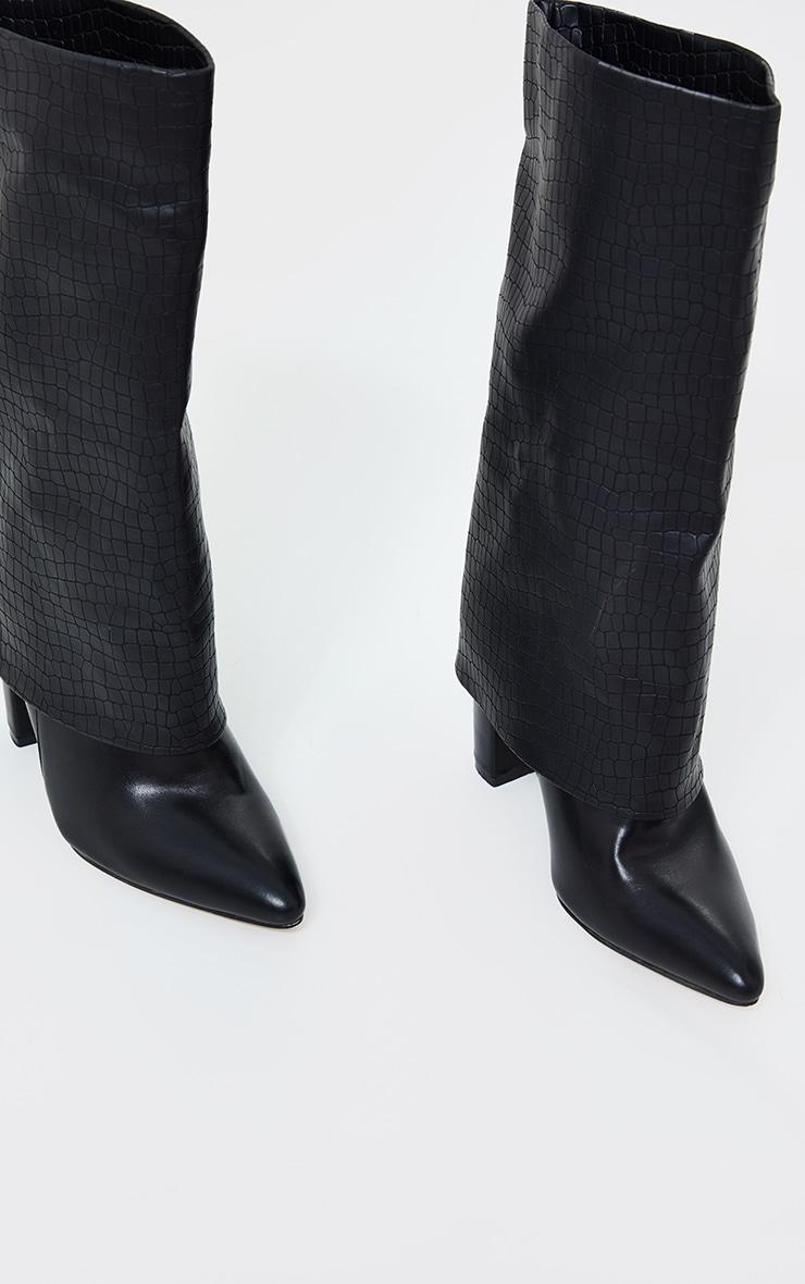 Black Fold Over High Point Block Heel Calf Boots 3