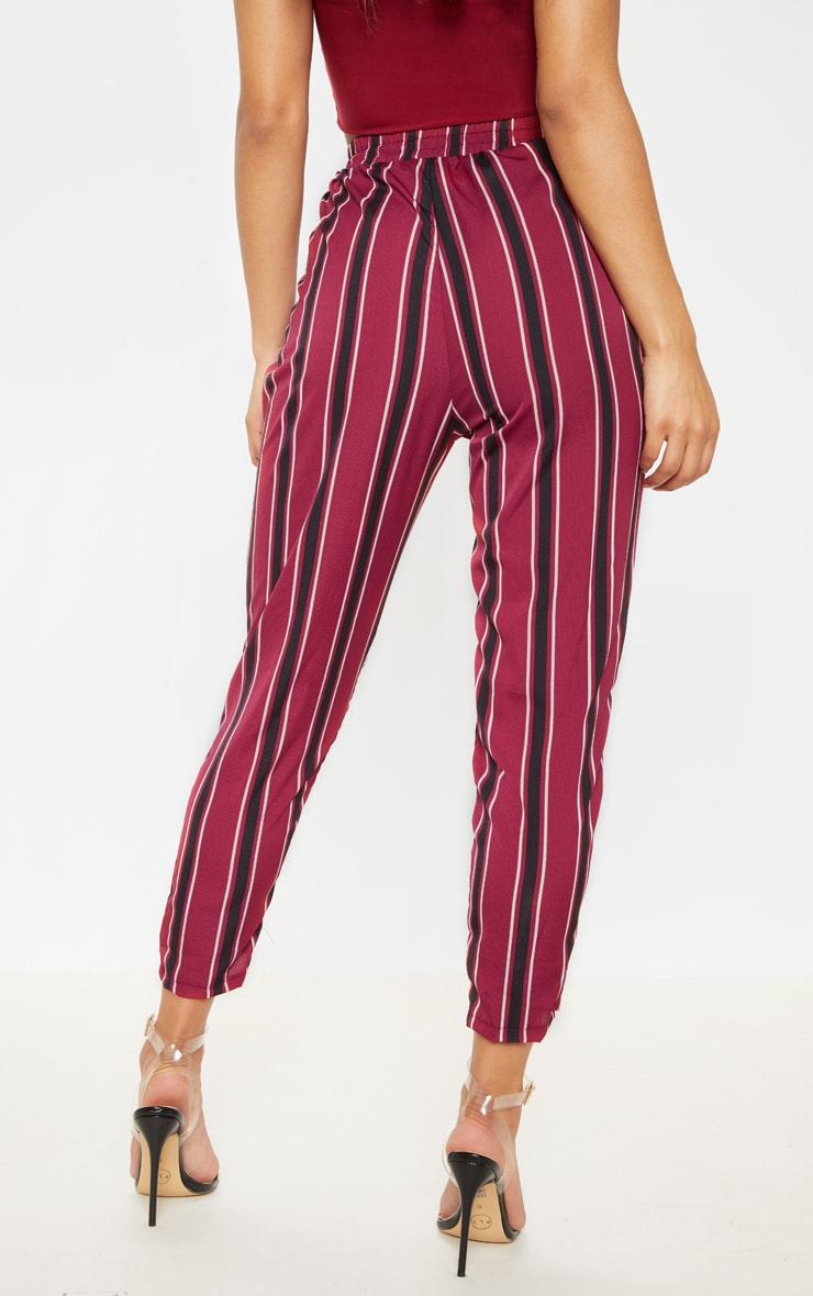 Burgundy Multi Stripe Casual Trousers 4