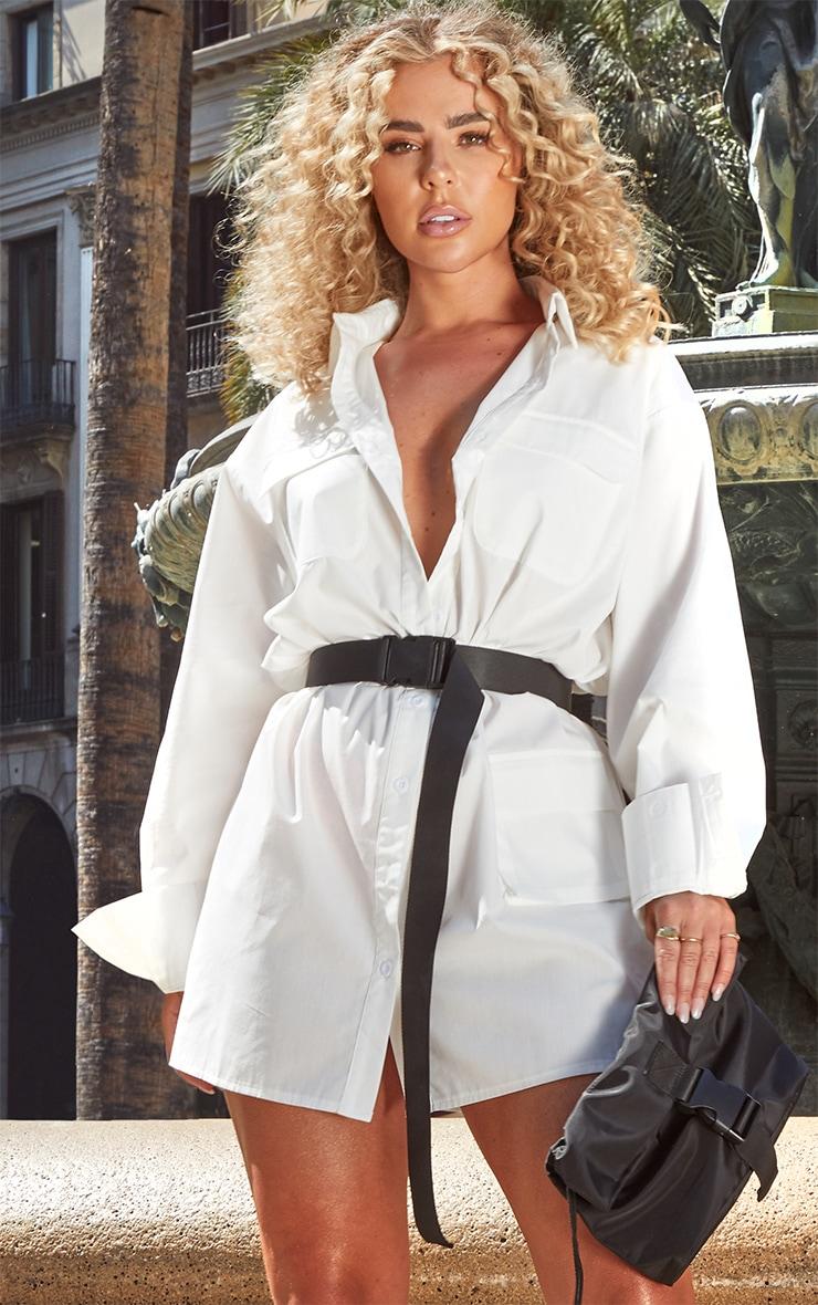 Petite White Pocket Detail Long Sleeve Shirt Dress 5