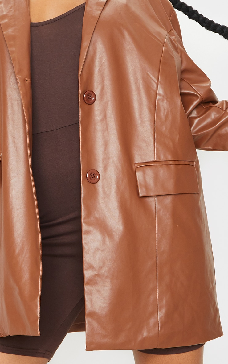 Toffee Faux Leather Oversized Dad Blazer 4
