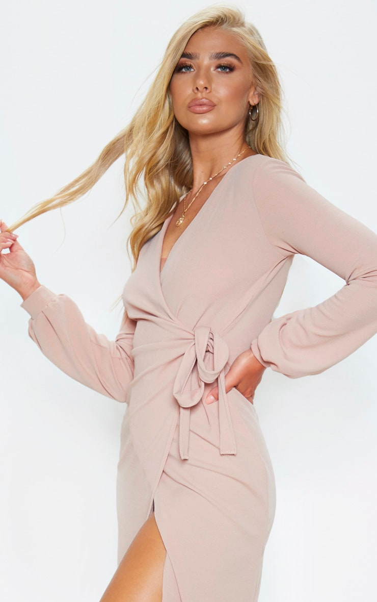 Stone Balloon Sleeve Wrap Midi Dress 5