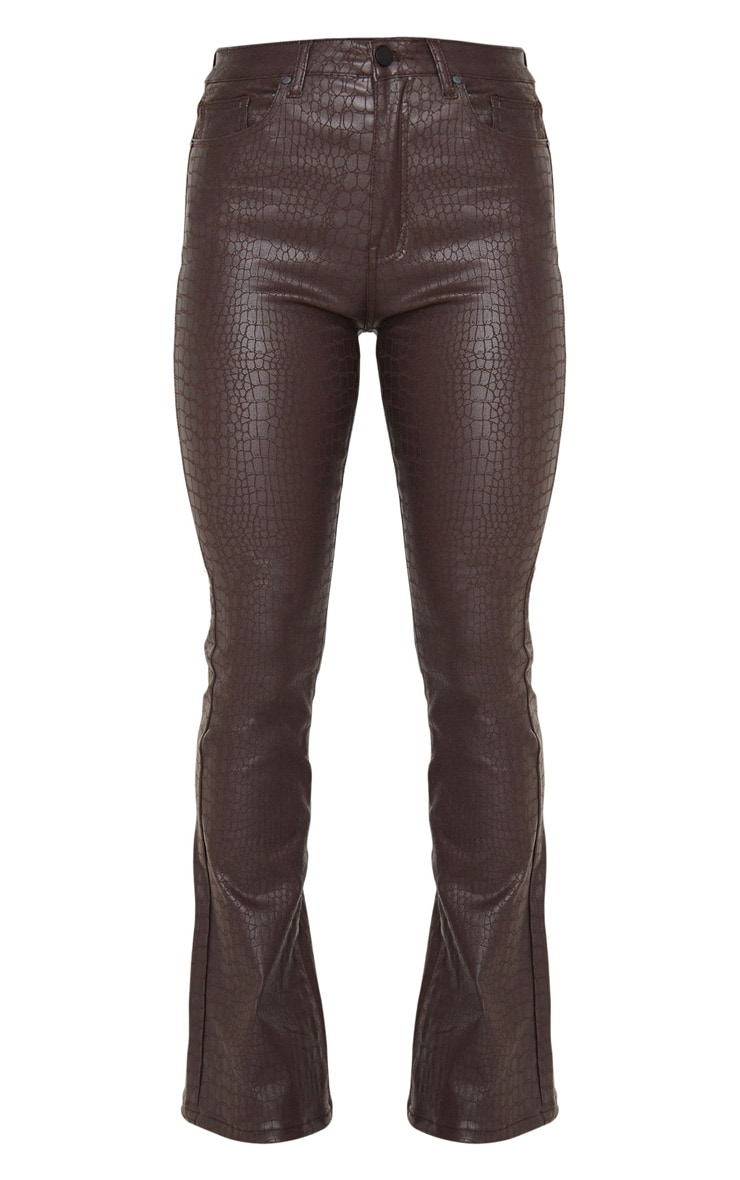 Chocolate Brown Croc Coated Denim Flared Jeans 5