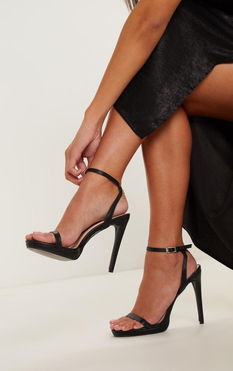 Black Platform Single Strap Sandal 1