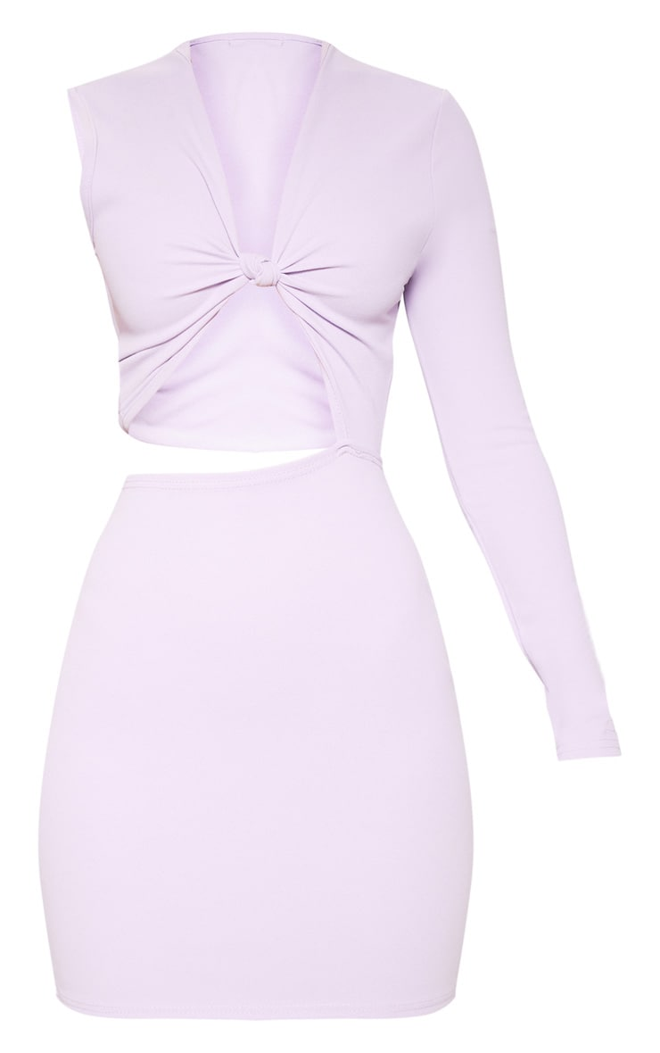 Lilac Asymmetric Knot Detail Cut Out Bodycon Dress 3