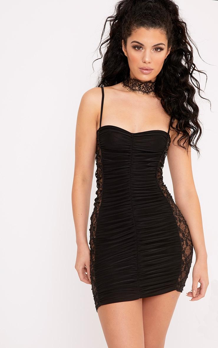 Alliah Black Lace Insert Slinky Mini Dress 1