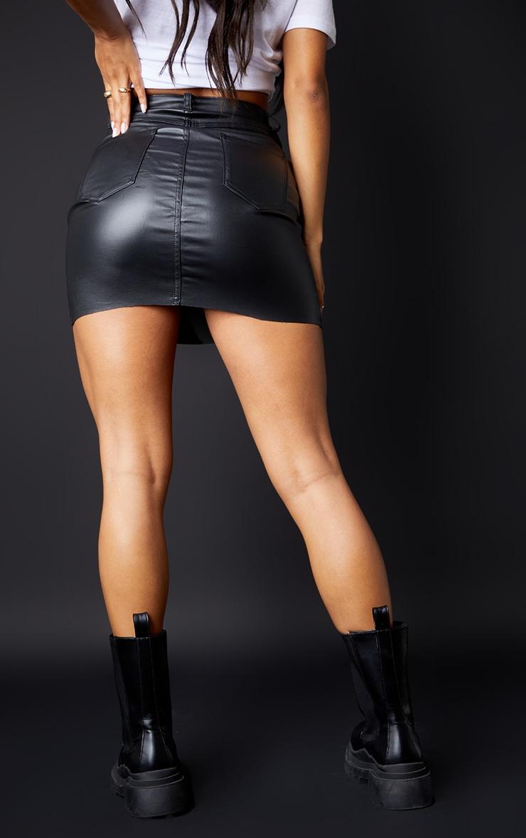 Black Coated Denim Extreme Mini Skirt 3