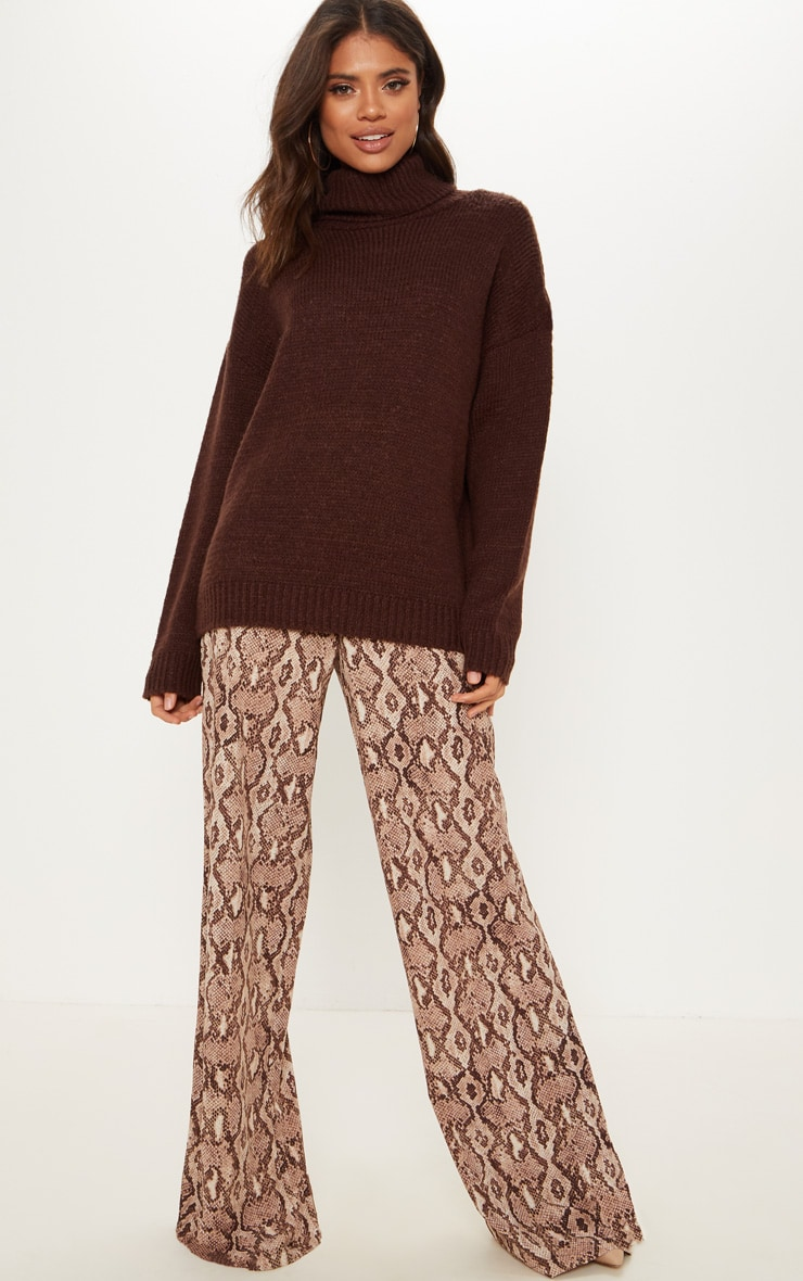 Chocolate High Neck Fluffy Knit Sweater  1