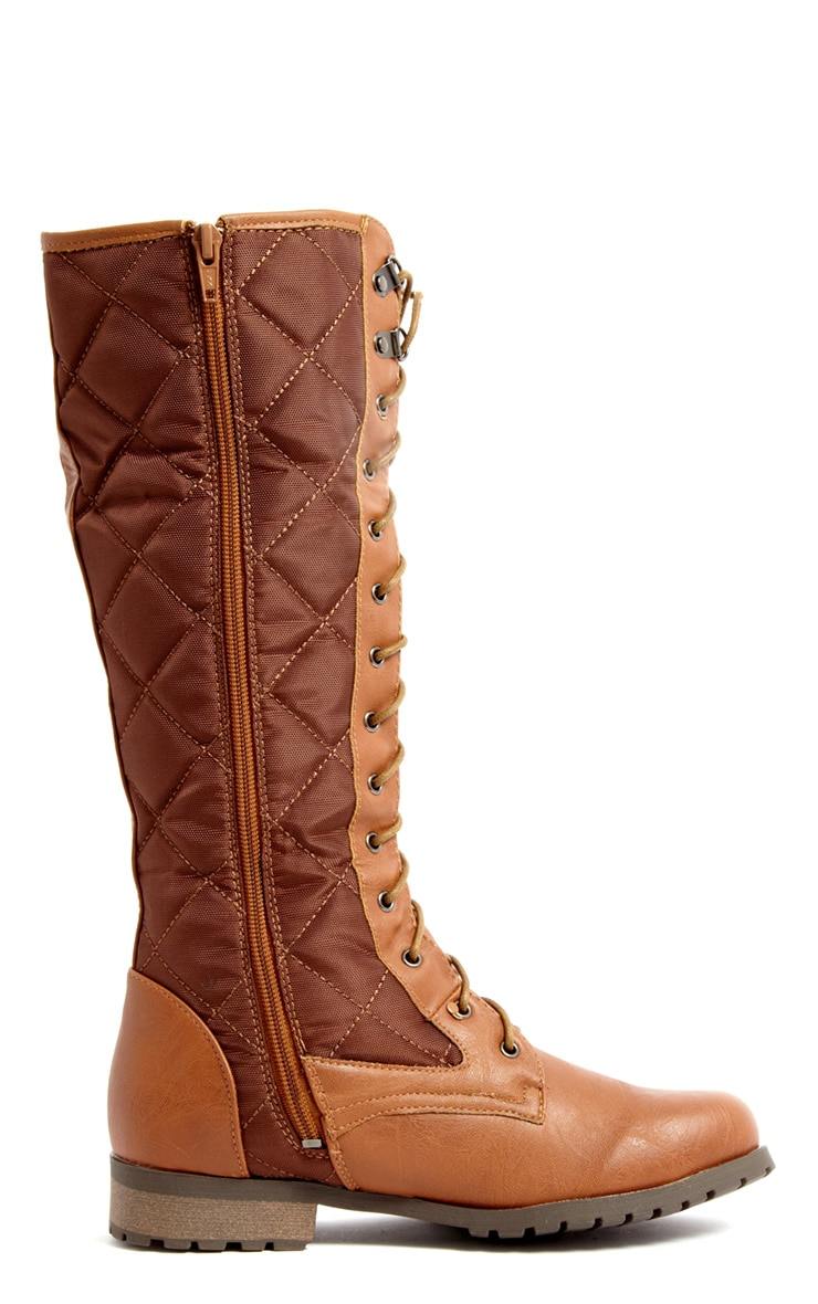 Kasey Tan Quilted Lace Up Boot 2
