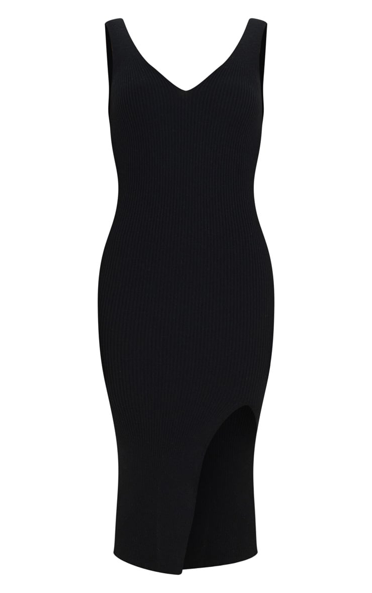 Black V Neck Side Split Knitted Midi Dress 5
