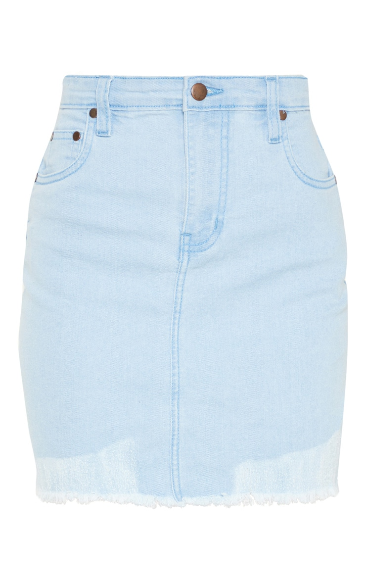 Petite Light Wash Distressed Hem Denim Skirt 3