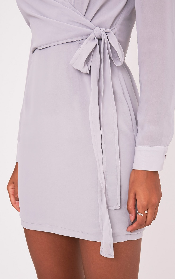 Dory Ice Grey Tie Waist Chiffon Shift Dress 6