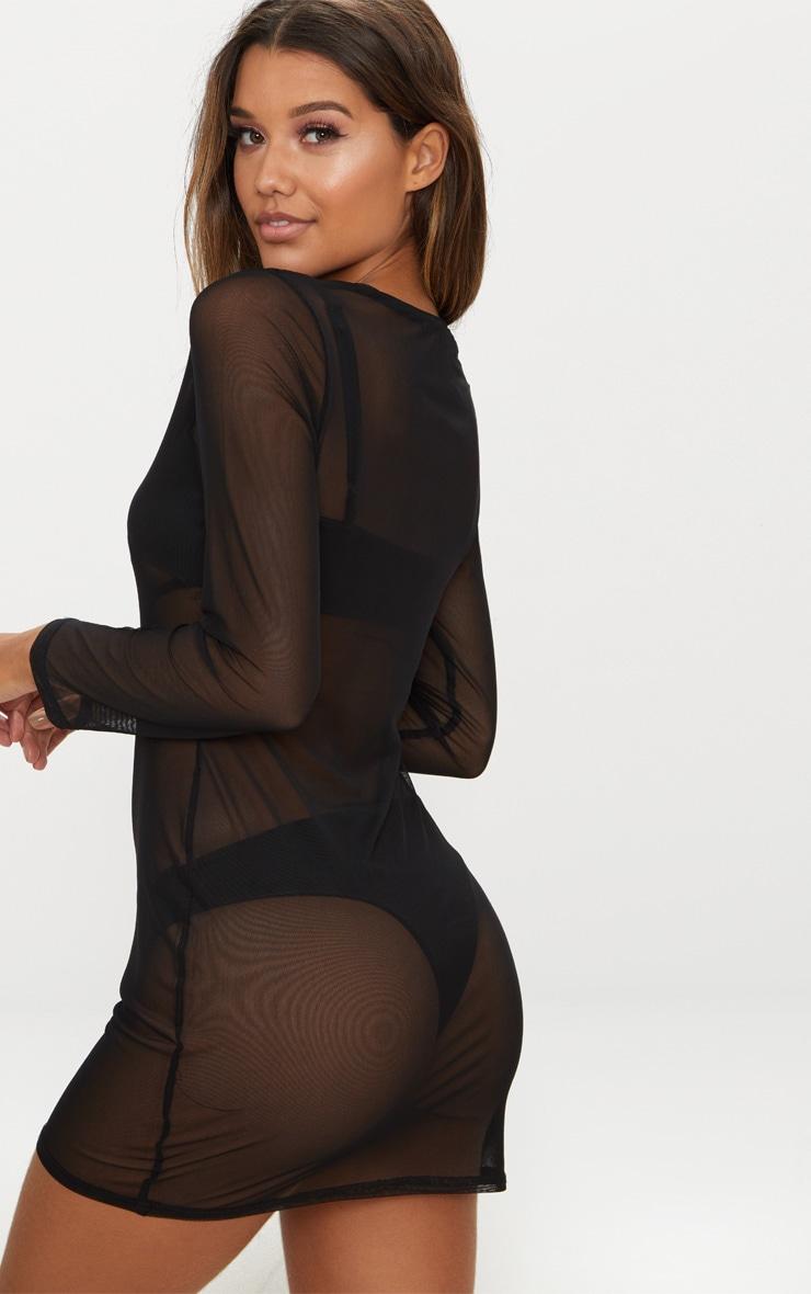 Black Mesh Beach Bodycon Dress 2