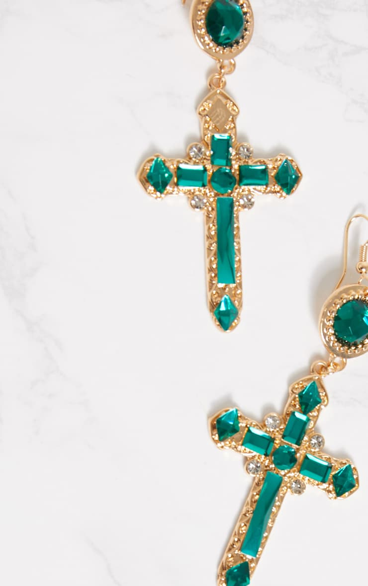 Green Gem Cross Earrings 4