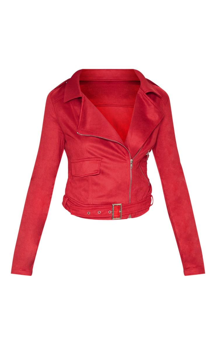 Niki Red Faux Suede Biker Jacket 3
