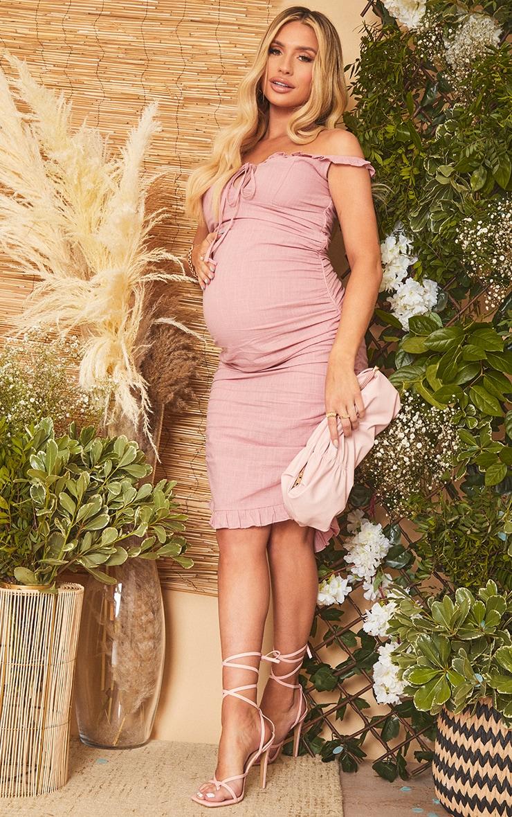 Maternity Pink Linen Look Mix Frill Detail Midi Dress 3