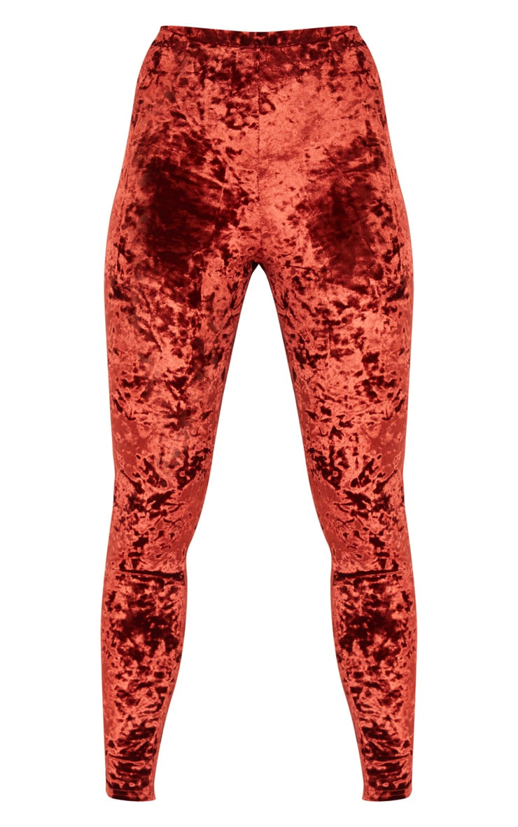 Burnt Orange Velvet Ruched Bum Legging  3