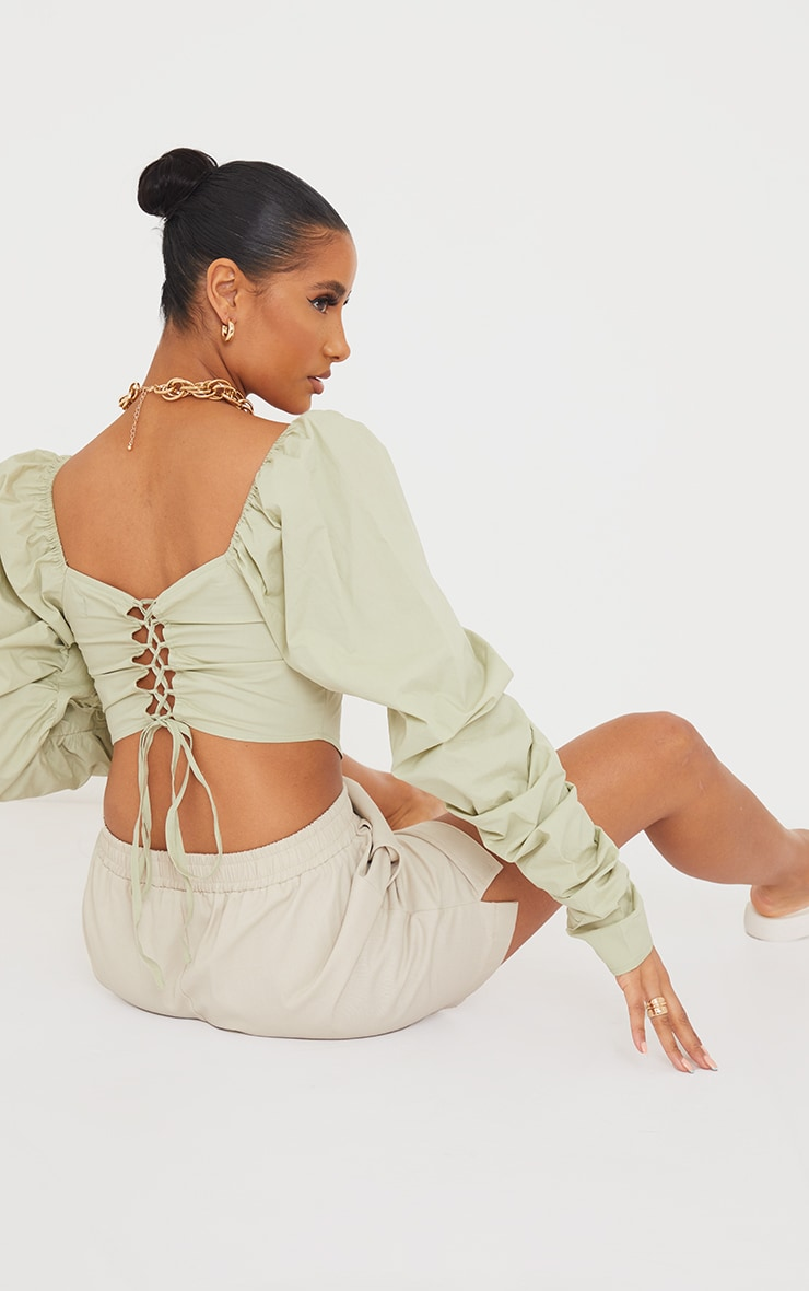 Sage Green Cotton Extreme Puff  Ruffle Sleeve Lace Up Crop Top 1