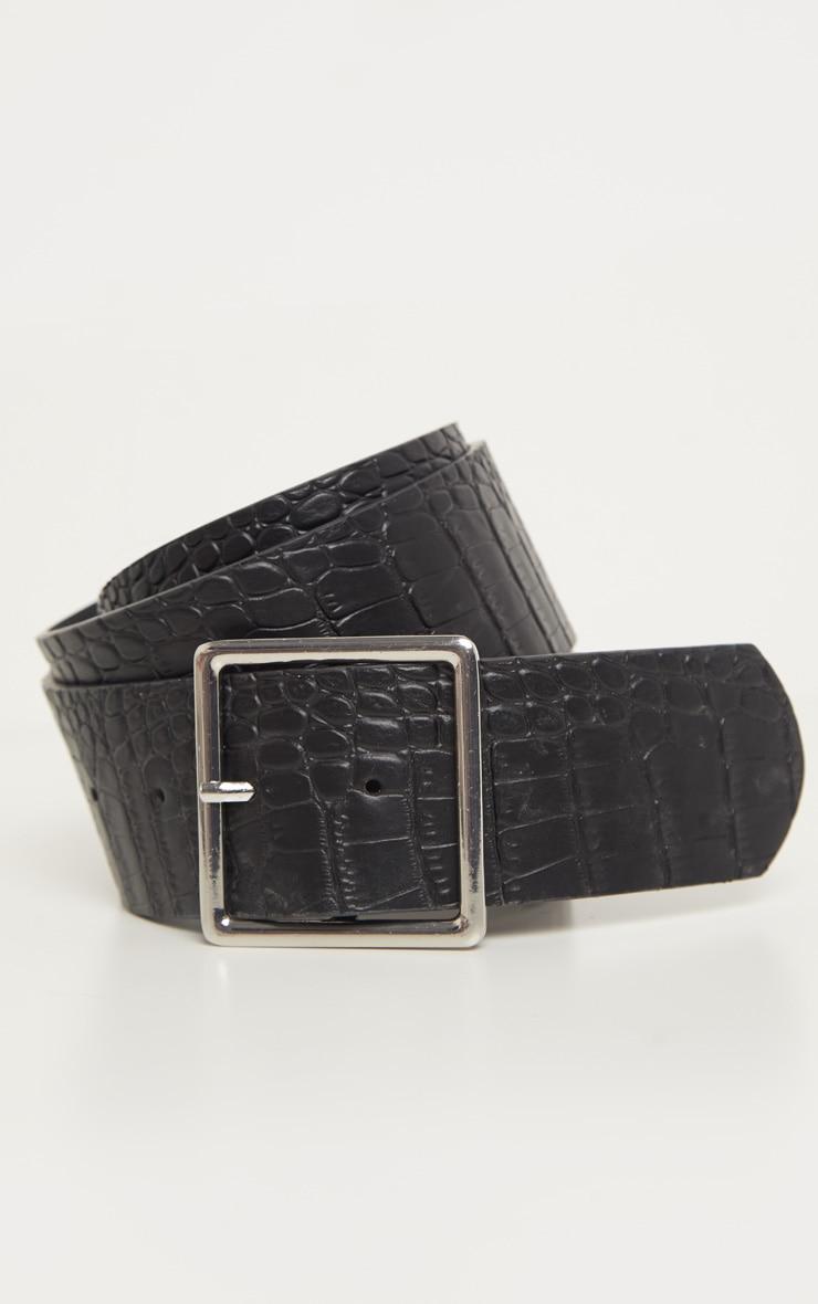 Black Croc Silver Square Buckle Belt  2